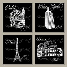 Black and White City Landmark Prints, 6x6 Giclee., via Etsy.