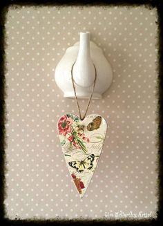 Decoupage Wooden Heart Twig Tree Ornament by ArtelisaGiftBoutique