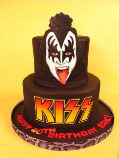 Kiss cake, rocker cake, rock n roll, Gene Simmons, KISS