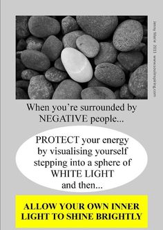 """❥ """"Protect your energy by visualizing yourself stepping into a sphere of WHITE LIGHT, and then. allow your own Inner Light to shine brightly!"""" ☀ Doing this will help other peeps' """"negative"""" energy stay away and NOT penetrate your being. Reiki Energy, Mind Body Soul, Spiritual Inspiration, Spelling, Affirmations, Mindfulness, Positivity, Wisdom, Words"""