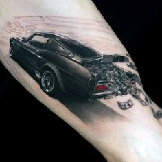 Auto Tattoo For Men With Money Falling Out Of Trunk