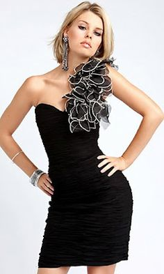 ruffled asymmetrical little black dress
