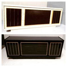 Before & After - gorgeous brass and black vintage credenza. SOLD - more vintage case goods at www.scoutdesignstudio.com #wescout