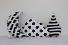 Cloud, Moon And Rain Drop Pillows - Save 10% -Kids Pillows, Monochrome Pillows, Half Moon Pillow, Black Stripes, Baby Bedding, Nursery Decor by ProstoConcept on Etsy