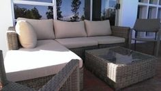 Purchased Jan15 for R14,770.00 As new, excellent cond. Synthetic wicker corner lounge outdoor setting with loose cushions, coffee table with glass top.   2 synthetic wicker arm chairs.