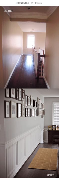 Boring hallway... not anymore! Adding this chair rail and shadow box wainscoting makes it gorgeous.