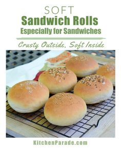 Soft Sandwich Rolls (NOLA-Style French Rolls) ♥ KitchenParade.com, soft insides with crispy crust perfect for sandwiches of all shapes and sizes, even from the same batch. Soft Buns Recipe, Sandwich Buns Recipe, Homemade Sandwich, Coconut Flour Bread, Coconut Flour Recipes, Coconut Roll Recipe, Hamburger Bun Recipe, Rolled Sandwiches, Cooking Recipes