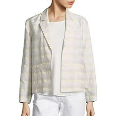 Lafayette 148 New York Frankie Striped Jacquard Blazer (955 DKK) ❤ liked on Polyvore featuring outerwear, jackets, blazers, apparel & accessories, jacquard blazer, open front blazer, striped jacket, long sleeve jacket and stripe jacket