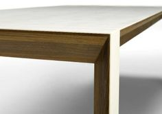 CORIAN & WALNUT EXT DINING TABLE DETAIL