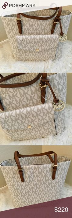 MICHAEL KORS JETSET WHITE GOLD LOGO TOTE BAG PURSE This bag is gorgeous! Brand new still with tags attached! Has a front pocket detail, with gold hardware! Great storing pockets inside of the purse, nice and roomy! Definitely don't miss out on this bag, all my items are cross posted so I can't promise this will be here tomorrow! I do accept reasonable offers, and will ship immediately!  Michael Kors Bags