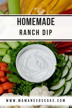 Homemade Ranch Dip - Mama Needs Cake - Easy Recipe Homemade Ranch Dip - Mama Needs Cake - Easy Recipe Homemade Ranch Dip Vegetable Dips, Vegetable Recipes, Best Appetizers, Appetizer Recipes, Homemade Ranch Dip, Homemade Veggie Dip Recipe, Dip Recipes, Easy Recipes, Free Recipes