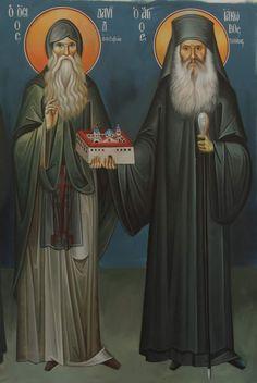 Sf. David și Iacov din Evvia Byzantine Icons, Byzantine Art, Prophets In Islam, Orthodox Christianity, Religious Icons, Orthodox Icons, Little Sisters, Jesus Christ, Ikon