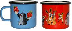 Metalac zománcozott csésze készlet, 2 db, 8 cm, dekor kávéscsésze, Kisvakond mintával, piros + kék - Szett