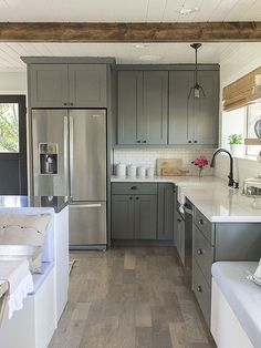 Kitchen makeover - Loving the grey cabinets!