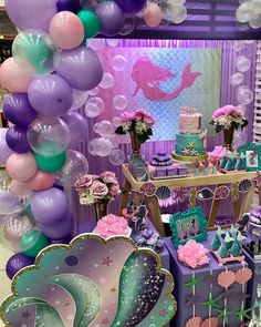 18 Ideas for party girl themes little mermaids Mermaid Theme Birthday, Little Mermaid Birthday, Little Mermaid Parties, Mermaid Themed Party, Birthday Party Decorations, Birthday Parties, Mermaid Party Decorations, Birthday Ideas, Mermaid Balloons