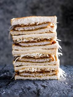 Tonkatsu is a Japanese dish of breaded, fried pork served with cabbage and dark, sweet tonkatsu sauce. It also appears in sandwich form as the katsu sando, which is a popular grab-and-go lunch for busy workers.