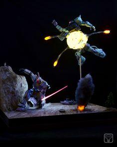 GUNDAM GUY: MG 1/100 RX-78-2 Gundam Vs. MS-06J Zaku - Diorama Build w/ LEDs