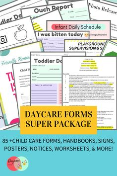 This is the Daycare Forms SUPER package- containing 85+ daycare digital downloadable forms to be used in starting your own child care center. This complete forms package is designed for licensed childcare centers, in-home daycares, and preschools. YOU ASKED FOR MORE SO HERE IT IS! The SUPER BUNDLE! Included in this package are all the forms, handbooks, & posters you need to start your own daycare business.