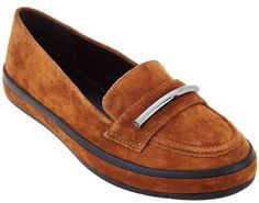 H by Halston Suede Slip-On Shoes with Hardware Detail - Brynn
