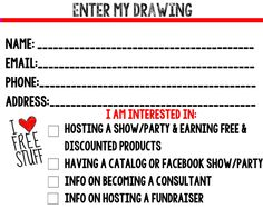 Printable Drawing Slip for Direct Sales Consultants!