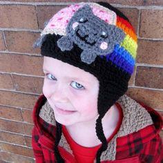 Kids  or Adult Nyan Cat  Poptart Cat Crochet Earflap Hat