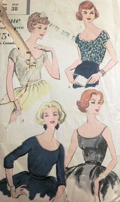 1950s Blouse with Sleeve Variations sewing by retroactivefuture, $15.00