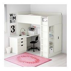 STUVA Loft bed with 3 doors - white/pink - IKEA The Effective Pictures We Offer You About door drawing A quality picture can tell you many things. You can find the most beautiful pictures th Bunk Beds For Girls Room, Bunk Bed With Desk, Bunk Beds With Stairs, Kids Bunk Beds, Desk Under Bed, Loft Beds For Small Rooms, Double Loft Beds, Low Loft Beds, Loft Bed Desk