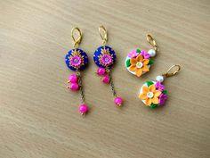 Custom Earrings, Women's Earrings, Earrings Handmade, Handmade Jewelry, Polymer Clay Flowers, Polymer Clay Earrings, Biscuit, Teracotta Jewellery, Polymer Clay Embroidery
