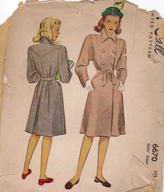 1940s McCall Sewing Pattern Trench Coat Raincoat Double Breasted Tie Belt Pointed Collar Uncut FF Size XS Bust 26