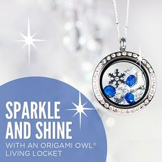 Love this sparkle! Celebrate the winter season with this Origami Owl Living Locket - To place your order, visit my website at http://yourcharminglocket.origamiowl.com/ or if you have further questions, OR LOOKING FOR A RETIRED OO PRODUCT, message me on Facebook. https://www.facebook.com/YourCharmingLocket.
