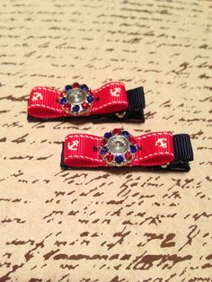 Navy blue red and white nautical bow hair clip by DonnaBellaBows, $5.95