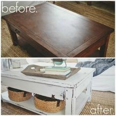 Milk paint coffee table makeover- lizmarieblog.com by audra