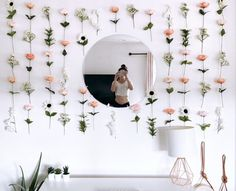 Customizable Hanging Fake Flower Wall for Backdrops and Room Decor Flower Room Decor, Cute Room Decor, Teen Room Decor, Room Ideas Bedroom, Room Decor Bedroom, Bedroom Inspo, Cheap Room Decor, Decoration Inspiration, Room Inspiration