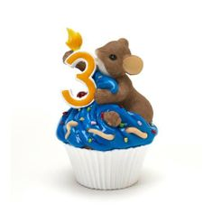 """Charming Tales Mouse on Cupcake third Birthday Figurine 3.5"""" by Enesco,"""