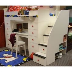 Bunk beds with stairs don't take much more room than a regular bunk bed. They are either come a little wider or a little longer than the average bunk beds to make room for the stairs
