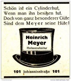 Original-Werbung/ Anzeige 1925 - HÜTE HEINRICH MEYER - OSNABRÜCK / MOTIV…