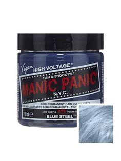 Manic Panic Blue Steel Hair Color Cream Classic High Voltage - Semi-Permanent Hair Dye - Vivid, Silver Shade - For Dark, Light Hair – Vegan, PPD & Ammonia-Free - Ready-to-Use, No-Mix Coloring Blue Hair Dye Colors, Blue Green Hair, Dyed Hair Blue, Hair Color Cream, Best Temporary Hair Color, Temporary Hair Dye, Semi Permanent Hair Color, Manic Panic Mermaid, Safe Hair Dye
