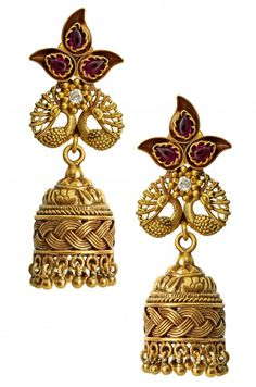AMRAPALI.Silver Gold Plated Paisley Peacock Crystal Jhumki