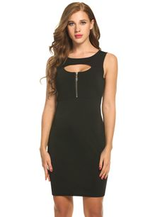 Women O-Neck Sleeveless Front Keyhole Zip Cocktail Party Pencil Dress
