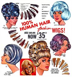 Human Hair Wigs Page 9 of the Christmas 1965 Frederick's of Hollywood catalog. Mode Vintage, Vintage Ads, Vintage Posters, Vintage Prints, Vintage Style, Vintage Fashion, Retro Hairstyles, Wig Hairstyles, Hairdos