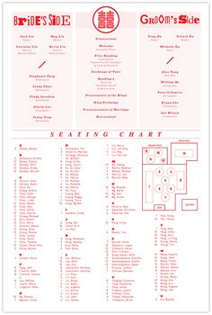 Interesting Seating Chart With Wedding Program Two In One
