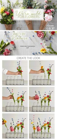 Brighten up a windowsill or mantel with a garden-inspired design using the 5 Bottles in Metal Stand from Pier 1. One by one, pop in a just-picked mix of favorite wildflowers for a cool, new way to bouquet.