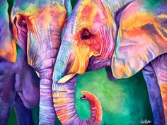 Water colour Elephants for Justine