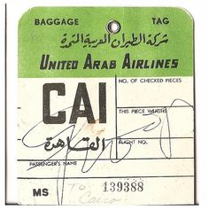 Baggage Tag ~ United Arab Airlines / Cairo