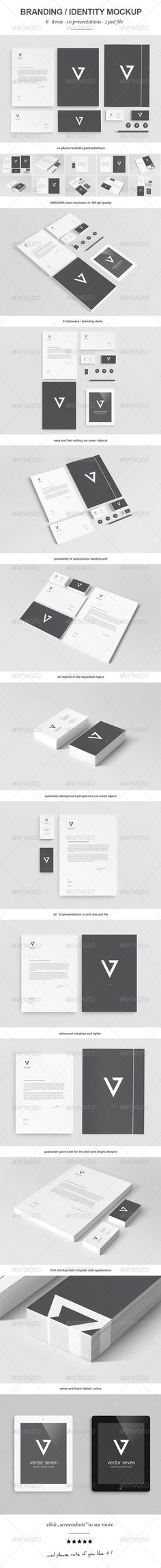Branding / Identity Mock-up II -- Photorealistic Branding / Identity/ Stationary Mock-up. So much in just one PSD file. Easy to use with smart objects. Just open the psd file and then replace all of the objects. For beginners I prepared a help file.