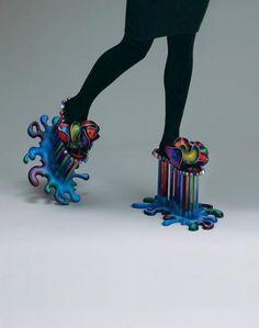 Weird Heels with rainbow splash