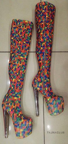 c946fa3c5 Multicolor Rainbow Mega Platform Over the Knee High Platform Boots High  Heel Shoes #Highheelboots