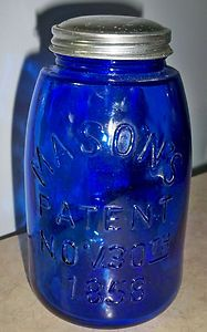Cobalt blue mason jars as vases