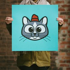 18x18″ 4 Color Screen Print French Paper Poptone Blue RaspberryLimited Edition Run of 50