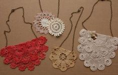 Fai da te collane crochet con i vecchi centrini - necklace and old doilies